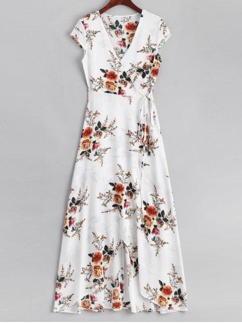Floral asimétrico Wrap Maxi vestido - Blanco L Mobile