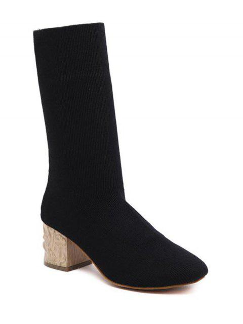 shop Mid Heel Knit Round ToeBoots - BLACK 37 Mobile