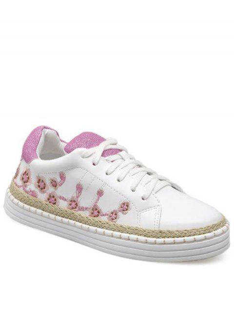 Faux Leather Embroidery Athletic Shoes - Pourpre Rosé 38 Mobile