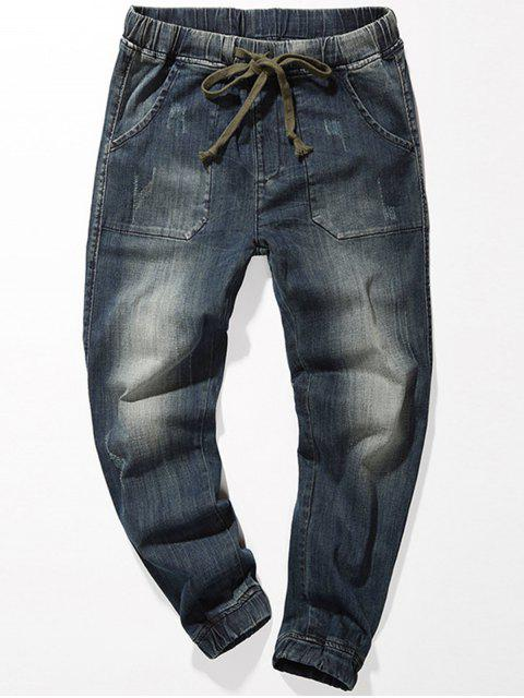 hot Drawstring Faded Jogger Jeans - BLUE 34 Mobile