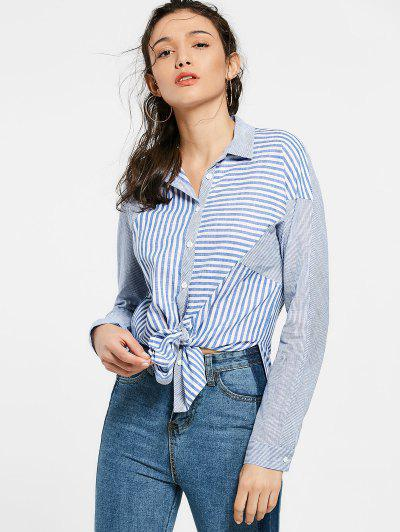 Botón Encima De La Camisa Larga Rayada - Azul L