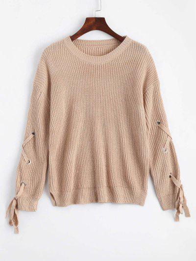 Loose Lace Up Side Slit Sweater - Khaki