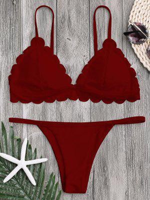 Bikini De Tanga Festoneada Con Cintura Baja - Rojo Oscuro S