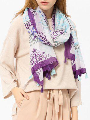 Retro Ombre Floral Printed Tassels Shawl Scarf - Purple