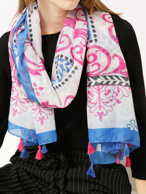 Retro Ombre Floral Printed Tassels Shawl Scarf - Blue
