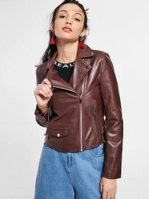 Zip Up Pockets Faux Leather Jacket - Dark Auburn S
