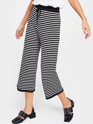 Pantalones De Pierna Ancha Rayada De Cintura Alta - Raya - Raya