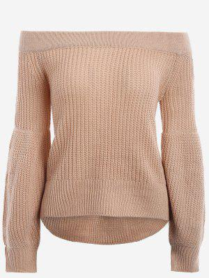 Lantern Sleeve Off The Shoulder Sweater - Khaki