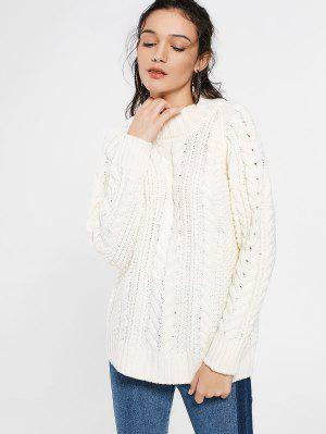 High Neck Cable Knit Long Sweater - Beige L