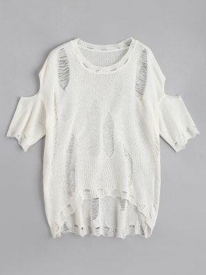 Ripped Sheer Cold Shoulder Knitwear - White