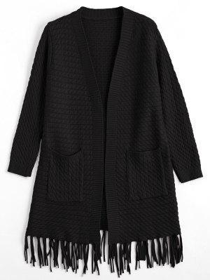 Fringe Cable Knit Cardigan - Black