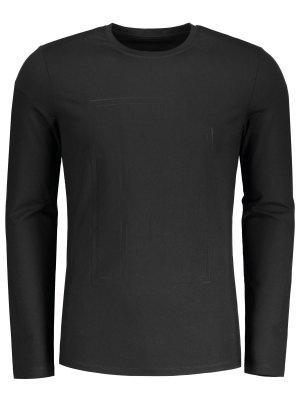 Fitted Textured Sweatshirt - Schwarz - Schwarz M