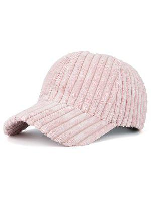 Winter Warm Faux Fur Striped Baseball Hat - Pink
