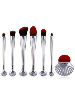 7Pcs Ocean Shell Hadle Plating Makeup Brushes Set - Silver