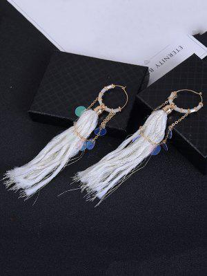 Round Piece Link Chain Fringed Drop Earrings - Branco