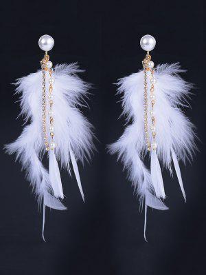 Faux Pearl Rhinestone Feather Drop Earrings - Blanc