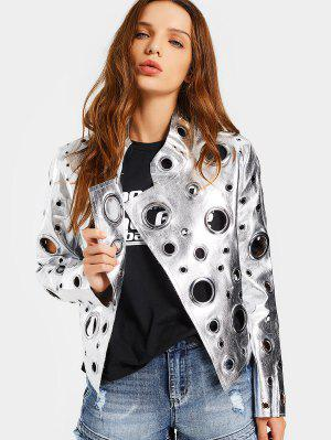 Hollow Out Ring Embellished Shiny Jacket - Silver S