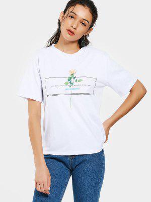 Camiseta De Cuello Redondo Con Estampado Floral - Blanco - Blanco L