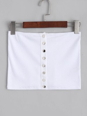 Ribbed Button Up Tube Top - White M