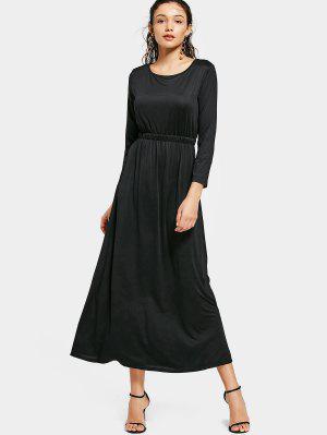 Cuello Redondo Manga Larga Vestido Maxi - Negro S