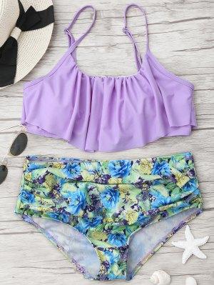 Conjunto De Bikini Floral Con Volantes - Púrpura L