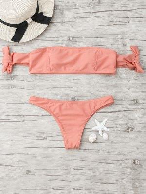 Tied Off The Shoulder Bikini Set - Orangepink S