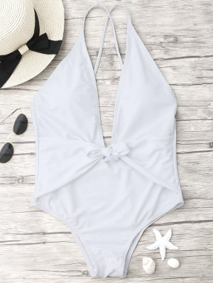 Knotted Plunge One Piece Swimsuit - White S