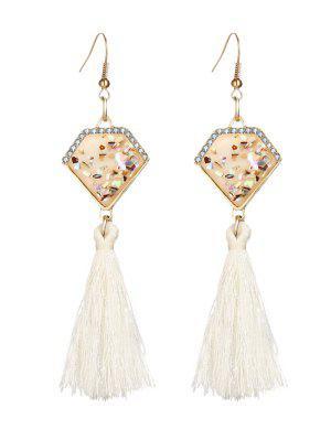 Faux Gem Tassel Geometric Hook Earrings - White