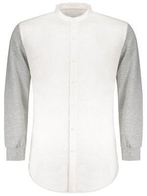 Anstecknadelbuttons Heathered Sleeve Panel Shirt - Weiß - Weiß M