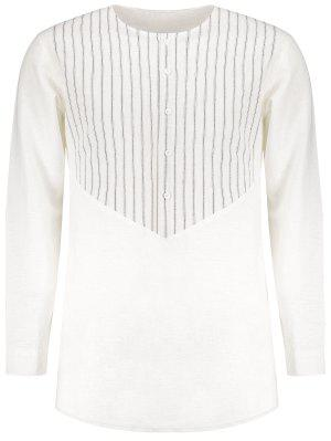 Camisa De Lana Rayada Con Franja Lateral - Blanco 2xl
