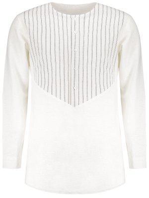 Side Slit Striped Longline Shirt - Weiß - Weiß M