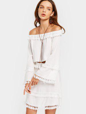 Off Shoulder Tassels Top And Skirt Set - White - White Xl