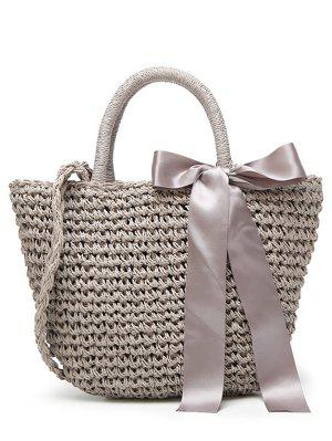 Sac à Main En Fourrure Ribbon Bowknot - Gris