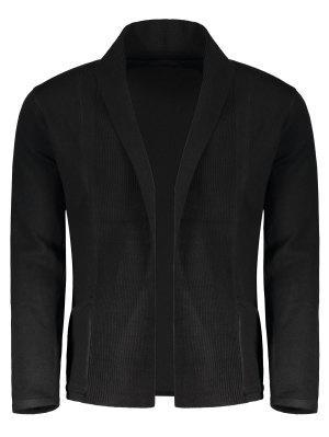 Shawl Collar Open Front Cardigan - Negro - Negro M