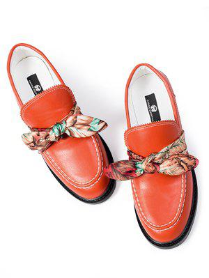 Stitching Bow PU Leather Flat Shoes - Red 37