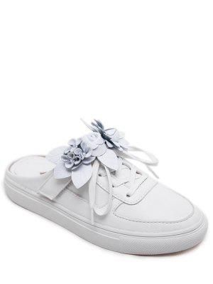 Tie Up Faux Leather Flowers Flat Shoes - White 41