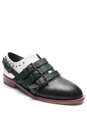 Buckle Straps Faux Leather Colour Block Flat Shoes - Black 37