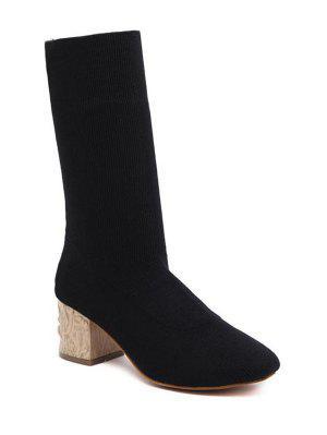 Mid Heel Knit Round ToeBoots - Black 37