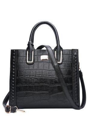 Weave Textured Leather Tote Bag