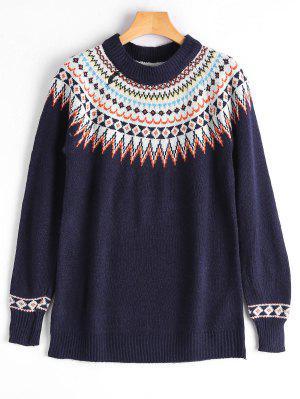 Crew Neck Graphic Pullover Sweater - Purplish Blue