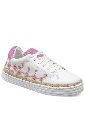 Faux Leather Embroidery Athletic Shoes - Pinkish Purple - Pinkish Purple 39