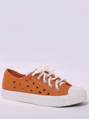 Canvas Breathabe Hollow Out Athletic Shoes - Orange - Orange 37