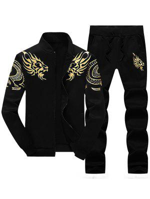 Totem Dragon Print Jacket and Sweatpants Suit