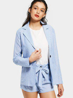 Striped Pockets Blazer and Belted Shorts Set