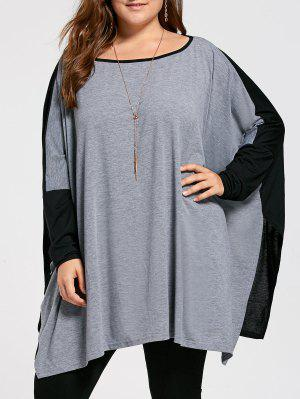 Plus Size Color Block Batwing Long Sleeve T-shirt