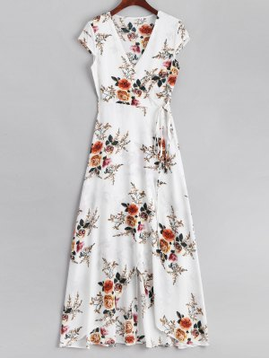 Floral Asymmetrical Wrap Maxi Dress