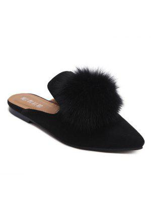 Pointed Toe Flat Heel Pompon Slippers
