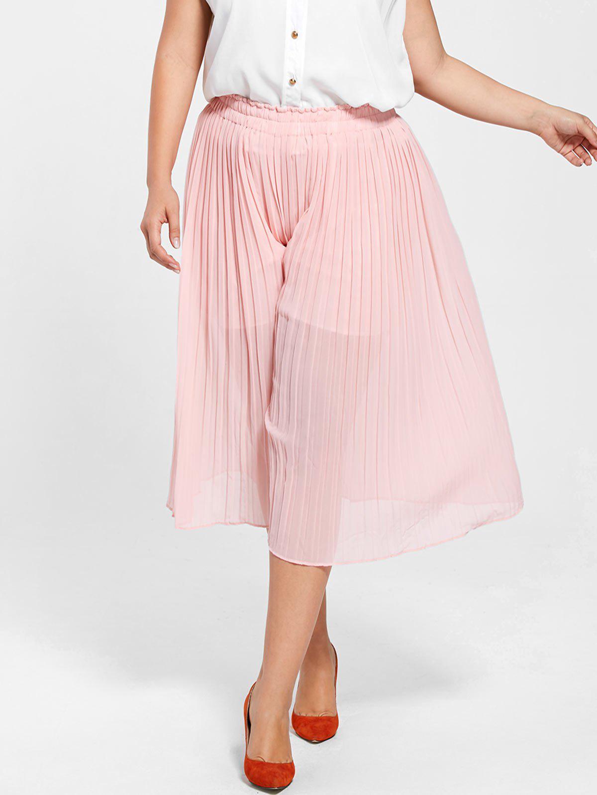 Plus Size Pleated Wide Leg Pants 222199505