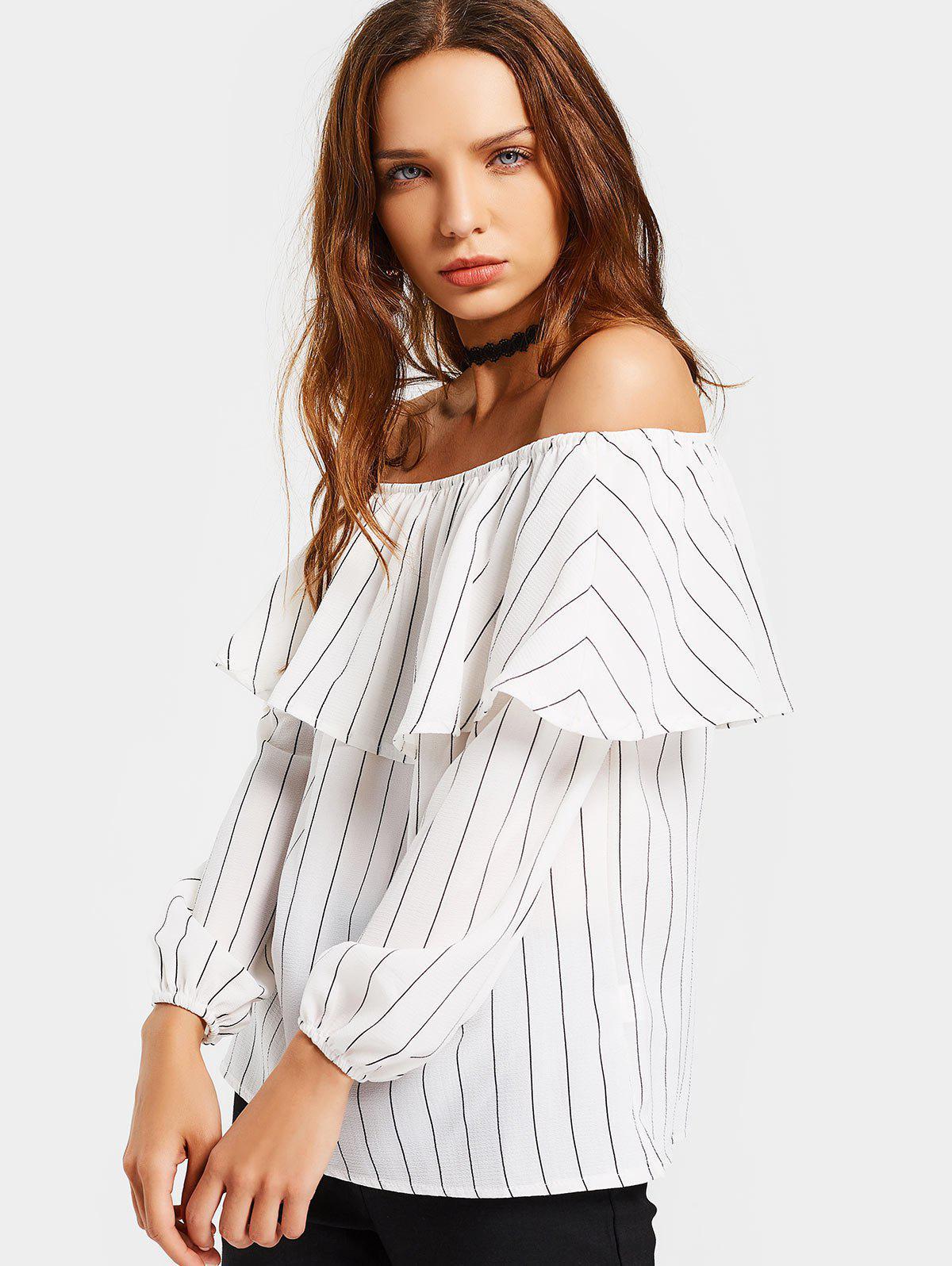Aus der Schulter Flounce Striped Bluse