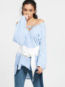 Plunging Neck Lace Up Striped Pocket Blouse - Light Blue S